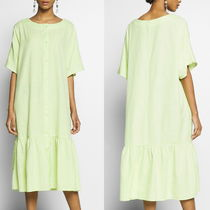 """MONKI"" Retro ruffle hem dress Lime"