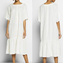 """MONKI"" Retro ruffle hem dress White"