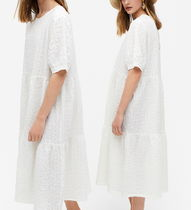 """MONKI"" Seersucker midi dress White"