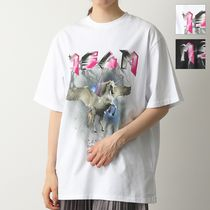 MSGM カットソー 2842 MDM289 WINGED HORSE AND LOGO PRINT MSGM