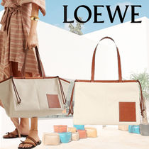 【LOEWE】 Cushion small leather-trimmed canvas トート