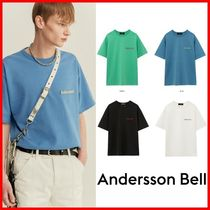 ★ANDERSSON BELL★UNISEX FULL NAME LOGO HAND EMBROIDERY T☆