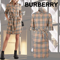 【Burberry】 Belted checked シャツドレス