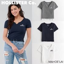 HOLLISTER Co. Lace-Trim Notch-Front Graphic Tee Tシャツ 3色