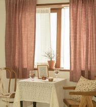 【DECO VIEW】Vintage check ombre cotton small window curtain
