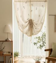 【DECO VIEW】Natural flower garden embroidery tie-up curtain