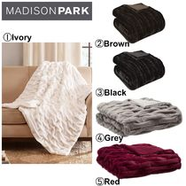 【MADISON PARK】●ブランケット●Reversible Ruched Faux-Fur