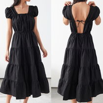 "& Other Stories(アンドアザーストーリーズ) ワンピース ""& Other Stories"" A-Line Jacquard Ruffle Midi Dress Black"