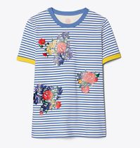 Tory Burch (トリーバーチ) Striped Floral Embroidered Tシャツ
