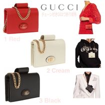 SALE★GG Plaqueロゴ【送込GUCCI】チェーン付★小銭CC付2折財布