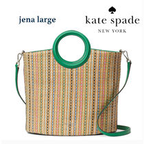Kate Spade◆jena straw large tote 2wayかごバッグ