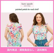 【kate spade】フリルが可愛い♪painted petals tie-neck shell
