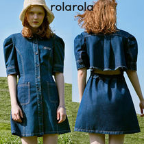 ★rolarola★日本未入荷 BACK SLIT PUFF-SLEEVE DENIM ONE-PIECE