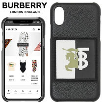 関送込 BURBERRY CONTRAST LOGO GRAPHIC LEATHER CASE