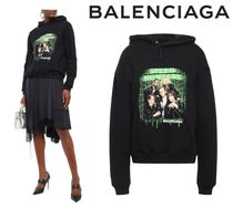 [関税・送料込] BALENCIAGA☆Printed cotton-fleece hoodie