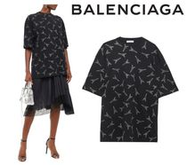 BALENCIAGA☆Oversized crystal-embellished cotton Tshirt