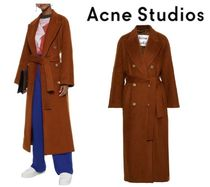 Acne Studios☆Double-breasted belted mohair-blend coat