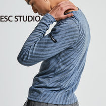 ★ESCSTUDIO★Oblique pattern long sleeves (sky)/正規品送料込