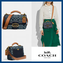 [COACH] riley top handle 22 in signature chambray