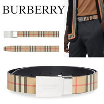 BURBERRY Reversible Plaque Buckle Vintage Check Ecanvas Belt