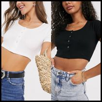 国内発送★ASOS DESIGN popper front crop top in rib