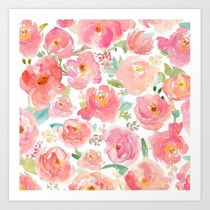 日本未入荷・送料無料 Pink Peonies Watercolor Pattern Art Pri