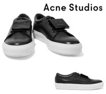 Acne Studios☆Adriana appliqued pebbled-leather sneakers