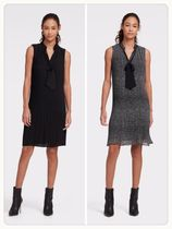 ( NEW / 日本未入荷 ) SLEEVELESS TIE NECK PLEATED SHIFT DRESS