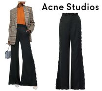 Acne Studios☆Ruffle-trimmed crepe de chine flared pants