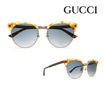 GUCCI☆Clubmaster acetate and burnished gold-tone sunglasses