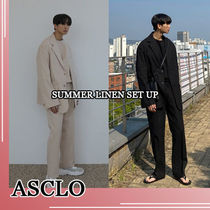 ASCLO★韓国の人気★SUMMER LINEN SET UP(BLAZER+PANTS)