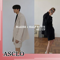 ASCLO★韓国の人気★SUMMER LINEN SET UP(BLAZER+HALF PANTS)