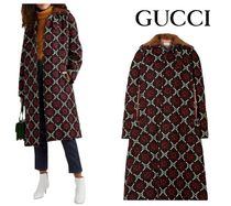 [関税・送込]GUCCI☆Faux shearling-trimmed wool-jacquard coat