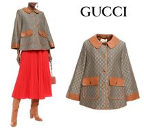 GUCCI☆Leather-trimmed cotton & wool logo-jacquard jacket