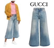 GUCCI☆Cropped embroidered high-rise wide-leg jeans