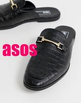 【ASOS】 backless mule loafer in black faux leather
