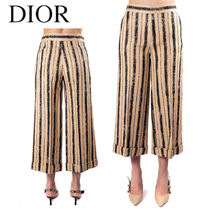 DIOR STRIPED CROPPED PANTS in TUSSAH SILK CANVAS