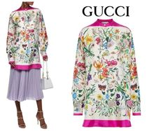 [関税・送込] GUCCI☆Oversized floral-print silk-twill shirt