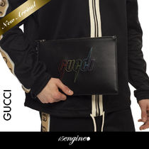 COOL☆Logo Patch Leather クラッチバック☆GUCCI