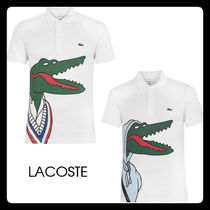 【LACOSTE】男女兼用!ワニ プリント ポロシャツ 半袖 白 2種