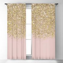 日本未入荷・送料無料 Pink and Gold Glitter Blackout Curtain