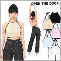韓国ブランド★OPEN THE DOOR☆halter-neck crop sleeveless