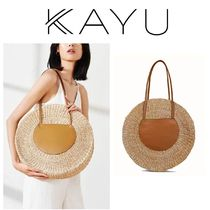 KAYU(カユ) かごバッグ 即納(KAYU)Belen Leather Trimmed Woven Straw Tote