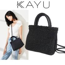 KAYU(カユ) かごバッグ 即納(KAYU)Solana Leather Trimmed Woven Straw Tote2WAY1353