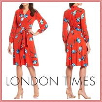 LONDON TIMES★FLORAL JERSEY DRESS ベルト付きワンピース