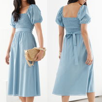 """""""& Other Stories"""" Belted Puff Sleeve Midi Dress LightBlue"""