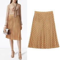 BB360 MONOGRAM PRINT CREPE DE CHINE PLEATED SKIRT