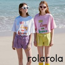 【rolarola】20S/S Be Lazy Or Leave ロゴ T-シャツ White/Pink