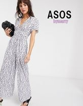 【ASOS 】Lost Ink ワイドレッグジャンプスーツ★white floral