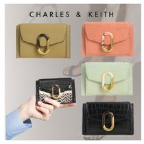 ★Charles&Keith★Croc-Effect Stone-Embellished カードケース